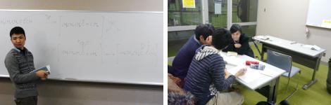 左:今日の授業のポイントをシニアSA/TAが説明 / 右:学生によるグループ学習は得意分野の教え合いに発展