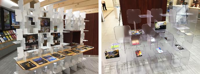 インフォメーションブース内部(左)と「KUMITA」を利用したパンフレット棚