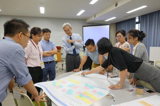 越日工業大学(ベトナム)の教員を対象としたプロジェクトデザイン教育研修会。金沢工業大学は越日工業大学にカリキュラムを輸出している