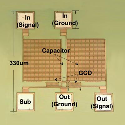 電波など環境電磁波からの発電を可能にするSOIチップ。330μmの微弱電波整流回路