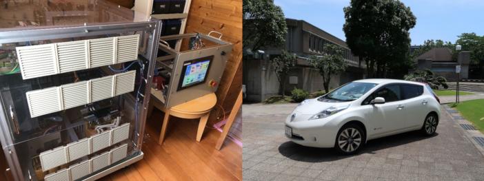 左:コテージに導入された制御システム/右:「配電線」に見立てた電気自動車で電力の輸送も行う