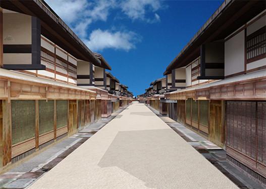 城下町金沢のまちなみ(CGによる復原)