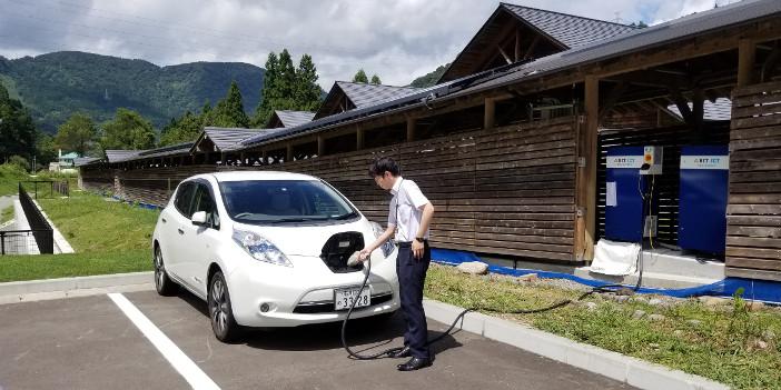 コテージ間をDC(直流)母線で接続。EV車を利用したエネルギーの相互乗り入れを実現