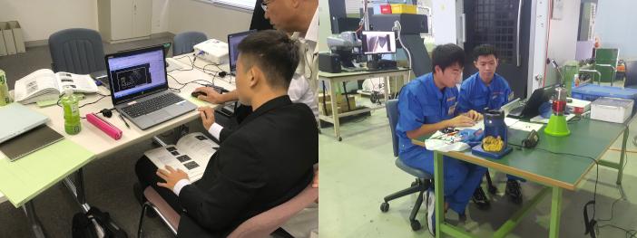 2018年夏に実施したインターンシッププログラムの模様(左:㈱石野製作所、右:㈱山本金属製作所)