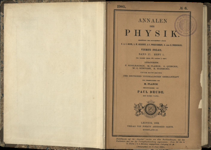 アルベルト・アインシュタインの「特殊相対性理論」が掲載された物理学誌(金沢工業大学 ライブラリーセンター 所蔵)