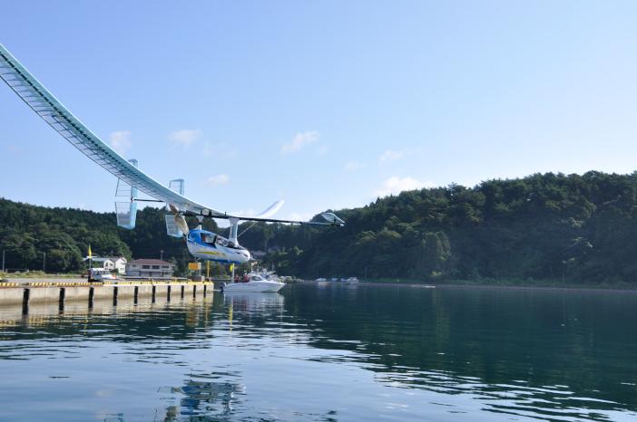 平成29年9月に初めて穴水湾飛行に挑戦した「航」(わたる)。535m飛行した