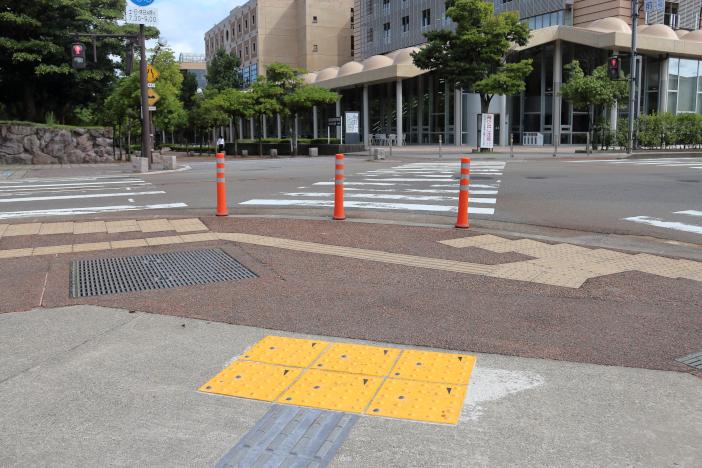 扇が丘キャンパス南校地通用門に敷設されたコード化点字ブロック