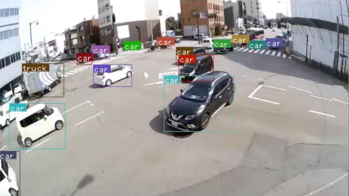 交差点における画像認識のイメージ(株式会社日本海コンサルタントとの共同研究事業)。車種、車色、移動速度と移動方向を高精度で把握することが可能