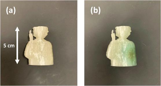 3Dプリントされた線量計。 (a)照射前。 (b)1kGyのX線(100kV連続源)を照射した後。 (b)の青緑色の着色は線量計の照射部分を示している