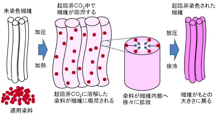 超臨界流体染色のイメージ図