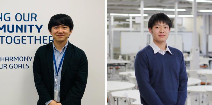 野村毅さん(左)と阿部薫平さん