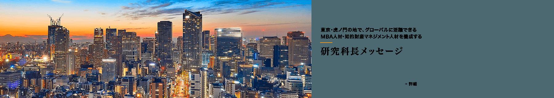 東京・虎ノ門の地で、グローバルに活躍できるMBA人材・知的財産マネジメント人材を養成する 研究科長メッセージ